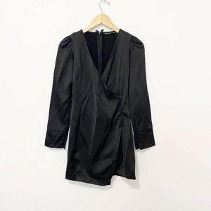 Zara Black V Neck Long Sleeve Tie Dress Size XS